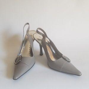"BCBGirls Slingbacks 7.5M Gray Pointed Toe 3"" Heel"